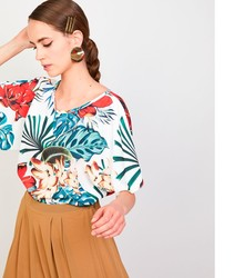 Print blouse floral elegant woman shirt trendy crop tops 2020 stamped s woman Vogue blouses