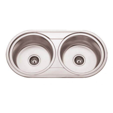Sink 2 Breast SS With/without Hole Faucet De9047