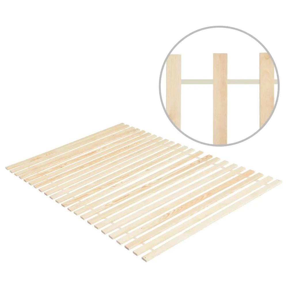 VidaXL Roll-up Bed Base With 23 Slats 140x200 Cm Solid Pinewood