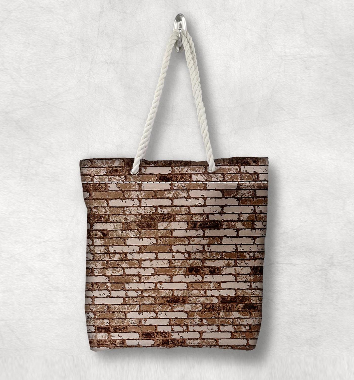 Başka bir kahverengi tuğla duvar taş yeni moda beyaz halat kolu kanvas çanta pamuk kanvas fermuarlı Tote çanta omuzdan askili çanta