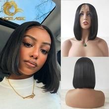 Yomagic pelo Color Negro pelo sintético parte de encaje pelucas con minimechones pelo recto BoB corto T pelucas de encaje con arrancado