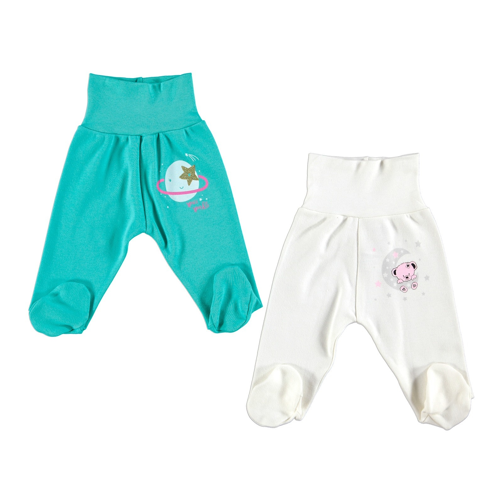 Ebebek HelloBaby Baby Wide Foldable Casual Waist Footed Pants 2 Pack