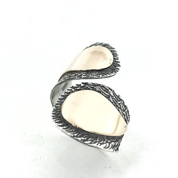 Hand Work Design Pointing Finger Authentic sterling Silver Ring