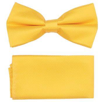 Men's bow tie, pocket square (microfiber, yellow) 53735