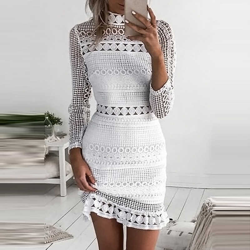 ANSELF White Lace Dress Women Party Dresses female vestidos Elegant Ladies Bodycon Dress Solid Long Sleeve Tiered Wrap Dress