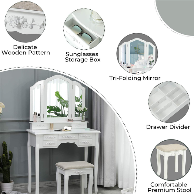 Modern Makeup Vanity Dressing Table w/ Tri-Folding Necklace Hooked Mirror & 7 Drawers for Storage Vanity Desk Cushioned Stool 4