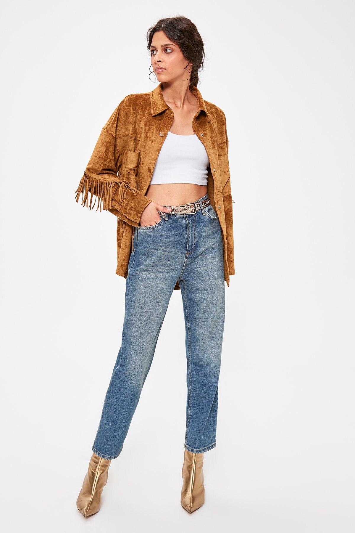 Trendyol Dark Blue High Waist Straight Jeans TWOAW20JE0100