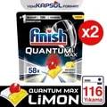 Finish Quantum Max Spülmaschine Waschmittel 116 Kapseln 58x2 Zitrone