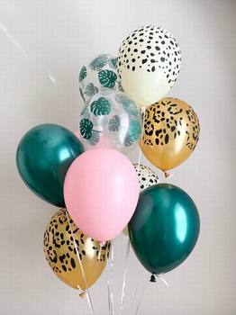 20pcs Palm Leaf Leopard Forest Green Pink Balloons Animal Print Balloons Wild One Safari Party Tropical Jungle Party Decor jungle party green latex balloons woodland animal palm leaf foil balloons safari party baloons birthday party decor baby shower