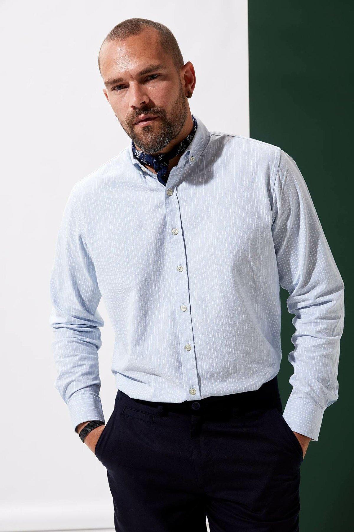 DeFacto Men Fasion Formal Simple White Lapel Collar Shirt Woven Top Long Sleeve Shirt Casual Business Wear Top Shirt-L5899AZ19AU