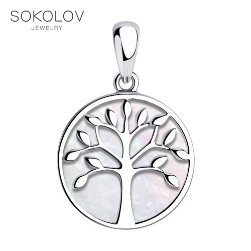 Pendant SOKOLOV Silver With Mother Of Pearl Fashion Jewelry 925 Women's/men's, Male/female