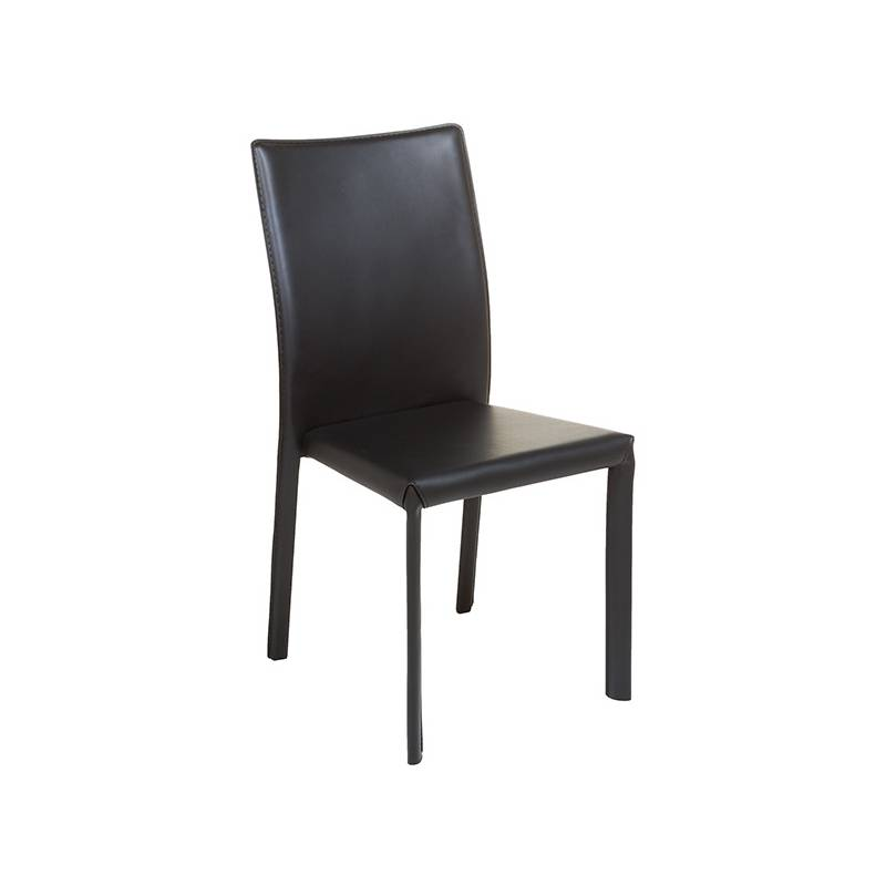Dining Chair Leather Metal Black (42x45x91 Cm)
