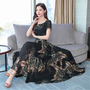 Floral-Dress Chiffon Korean-Version Short-Sleeved Summer O-Neck Waist-Was Long-Section