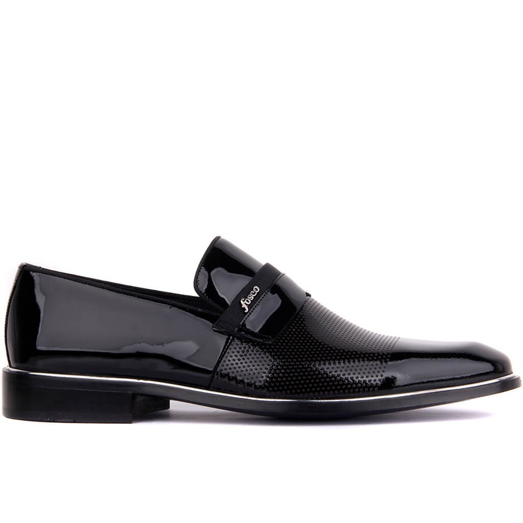 Fosco-Black Leather Neolit Men's Classic Shoes