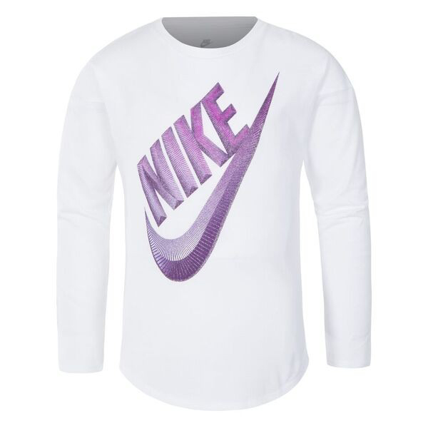 Children's Long Sleeve T-Shirt Nike C489S-001 White Purple (Size 2-3 Years)