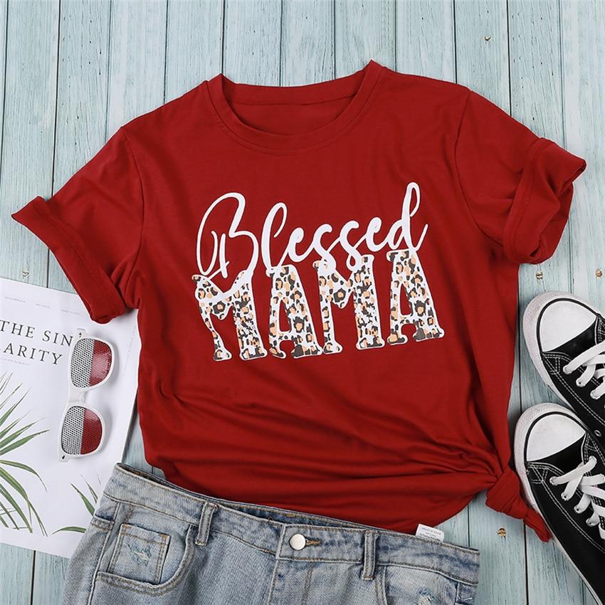 Red T Shirt Women Letter Printed Short Sleeve Summer O-neck Tops Tee 2020 Fashion Leopard Letter T-shirt Women Soft Cotton Tee