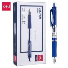 Deli składany długopis żelowy EQ104 końcówka 0.5mm czarny niebieski kolor pisanie narzędzia szkolne materiały biurowe piśmiennicze atrament żelowy długopisy