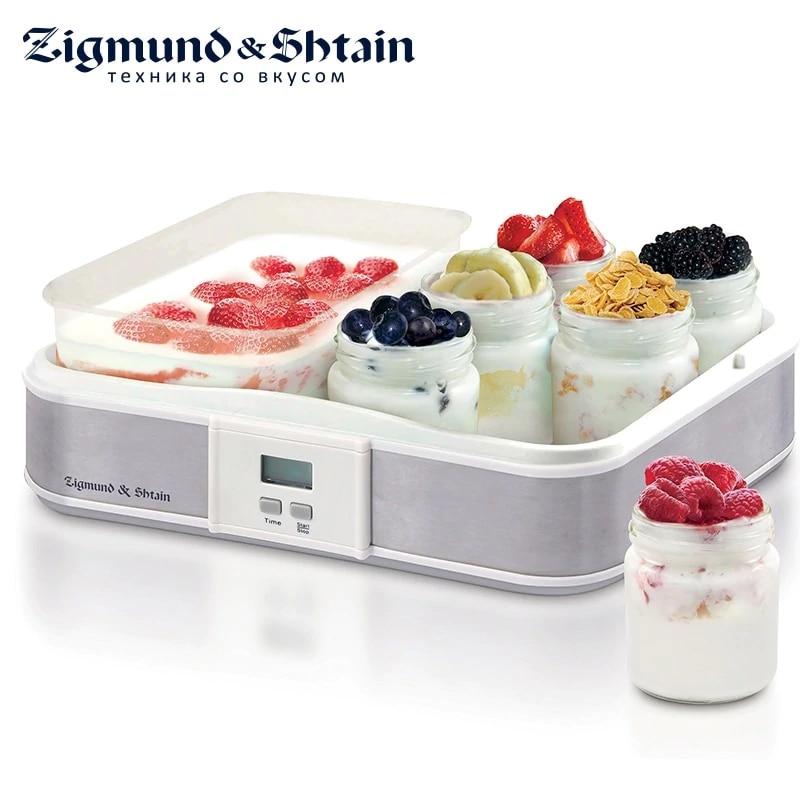 Zigmund & Shtain YM-216DB Yogurt Maker 21.5W Glass jars 6 pcs. Timer up to 15 hours glasses cups 4001 for yogurt maker 200 ml 4 pcs plastic cover date of expiry indication