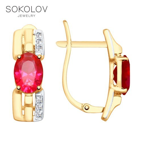 Drop Earrings With Stones With Stones With Stones With Stones With Stones With Stones With Stones With Stones SOKOLOV Gold Red Corundums (synthetic) And Cubic Zirkonia Fashion Jewelry 585 Women's Male