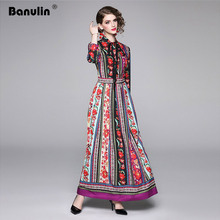 Banulin 2019 Autumn Womens O-Neck Long Sleeves Bow Detailing Floral Printed Striped Pleated Elegant Maxi Runway Dresses
