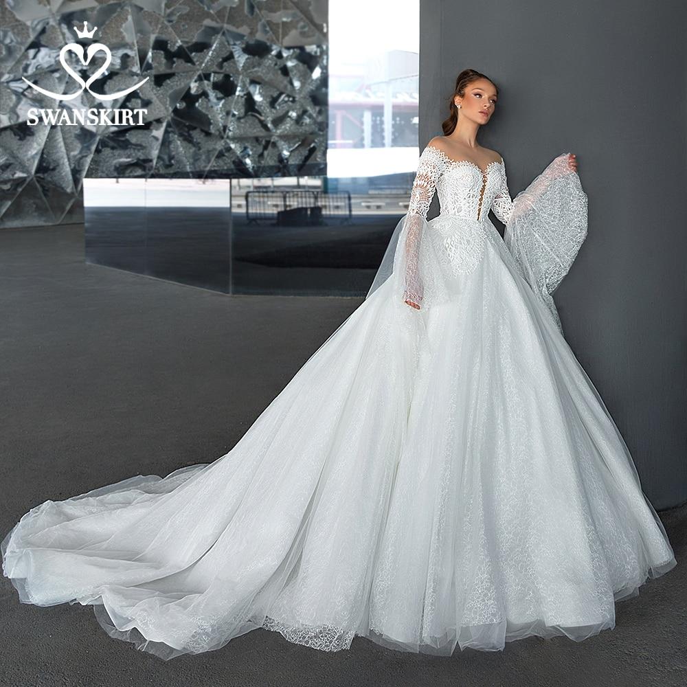 Fashion Backless Princess Wedding Dress 2020 Swanskirt Sweetheart Ball Gown With Flare Sleeve Bridal Dress Vestido De Noiva F309