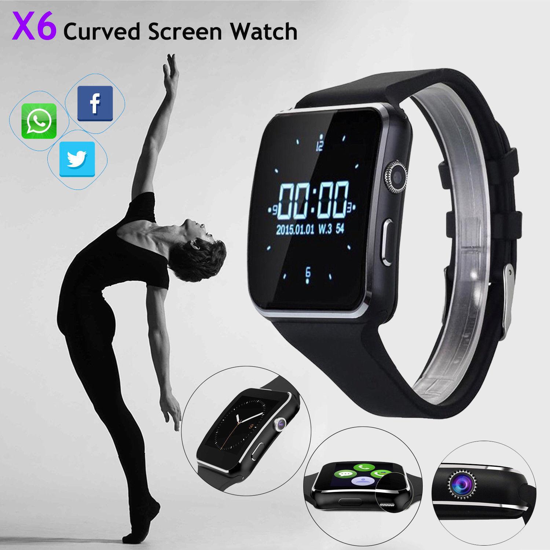 X6 relógio inteligente à prova dbluetooth água bluetooth suporte cartão sim câmera de fitness relógios telefone masculino feminino smartwatch 2019 versão