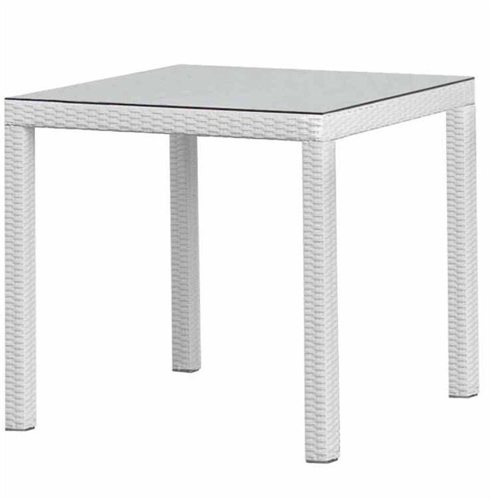 Table COAST, Aluminum, Rattan Beige White, 80x80 Cms