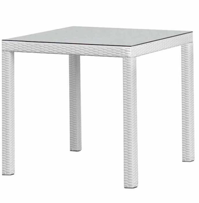 Table COAST, Aluminum, Rattan Beige White, 80x80 Cms
