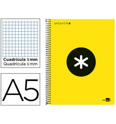 SPIRAL NOTEBOOK LEADERPAPER A5 MICRO ANTARTIK LINED TOP 120H 100 GR CUADRO5MM 5 BANDS 6 DRILLS YELLOW FLFL 3 United