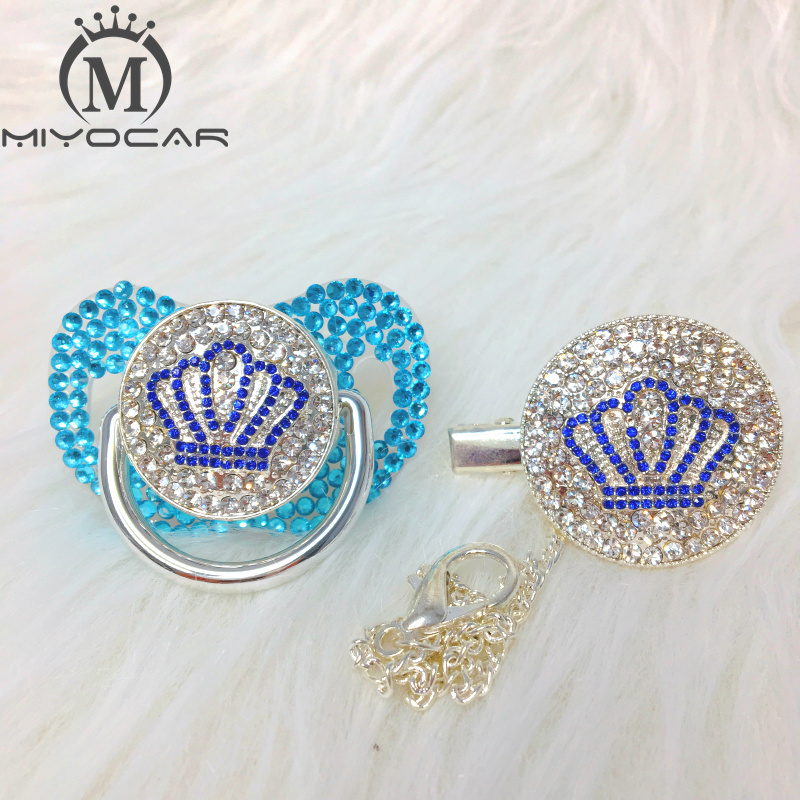 MIYOCAR Bling Crown Pacifier And Clip Set Pacifier Chain Holder All White Bling Pacifier Unique Design ABCB-1-SB