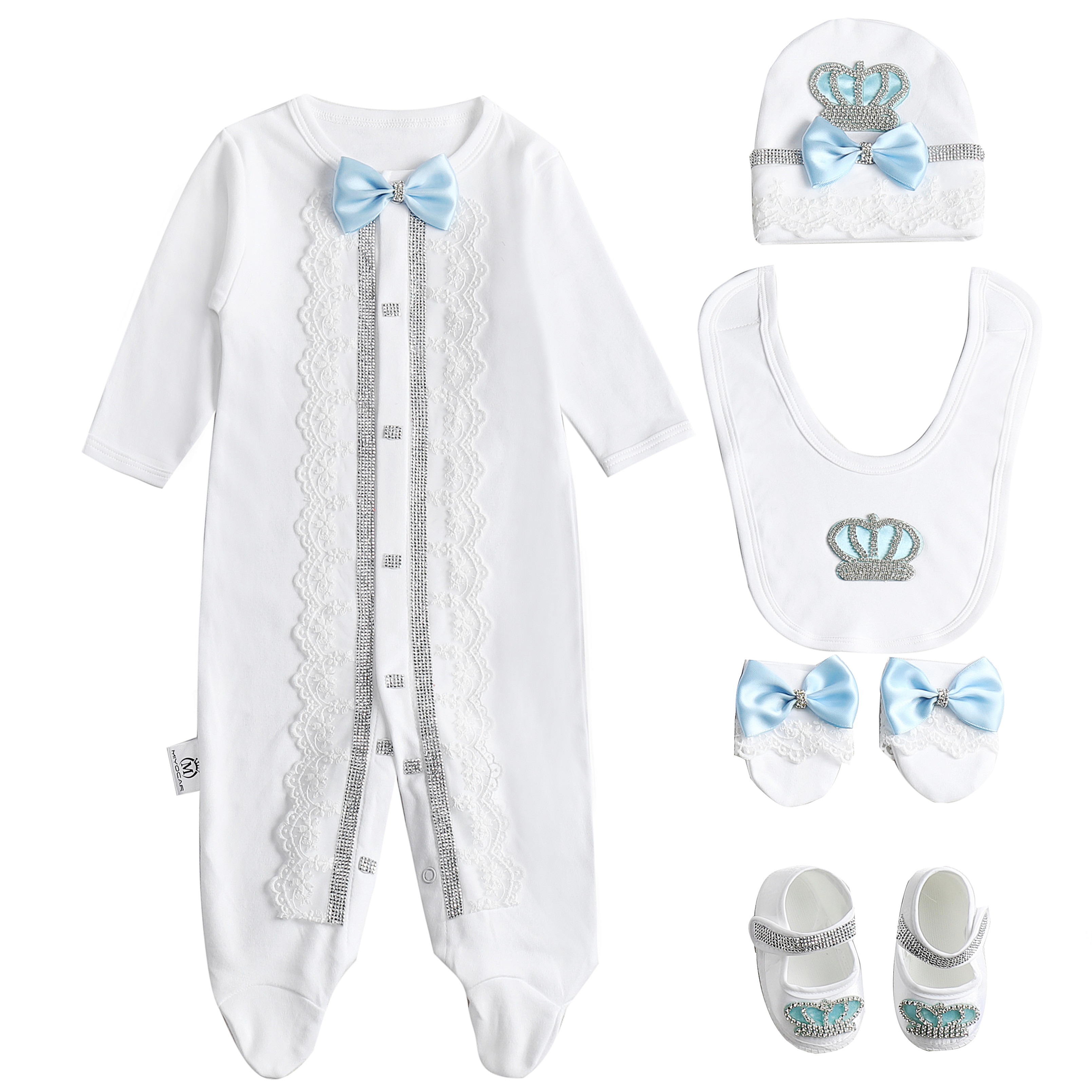 MIYOCAR 0-6m All Cotton Crown Lace Rhinestone Clothes Set One Piece Bodysuit Set Unique Baby Shower Gift Bling Baby Cothes SL