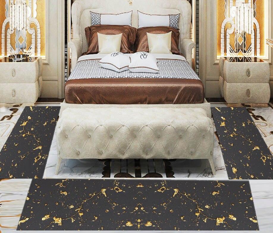 Else 3 Piece Black Golden Yellow Marble Stones 3d Print Non Slip Microfiber Washable Decor Bedroom Hallway Area Rug Carpet Set