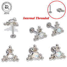 3PCS G23 Titanium&Steel Opal Cluster Ear Tragus Helix Cartilage CZ Gem Earring Stud Labret Bar Lip Ring Body Piercing Jewelry
