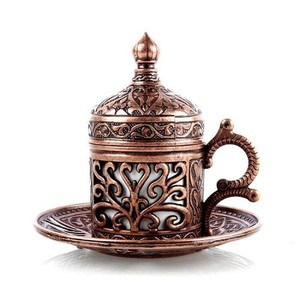 Handmade authentic Design Turkish Greek Arabic Coffee Espresso Set for 1 Service, Cups Saucers Lids Tray Delight Candy Dish GIFT()