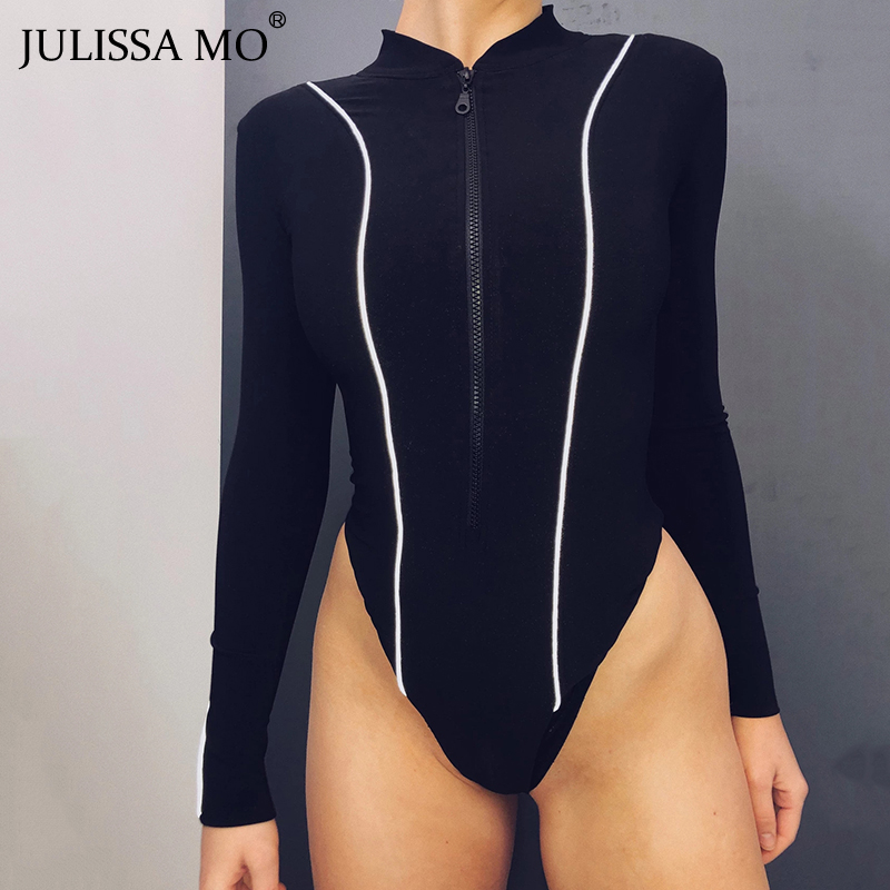 JULISSA MO Reflective Stripe Sexy Skinny Bodysuit Women Black Long Sleeve Zipper Rompers Female Streetwear Club Body Overalls