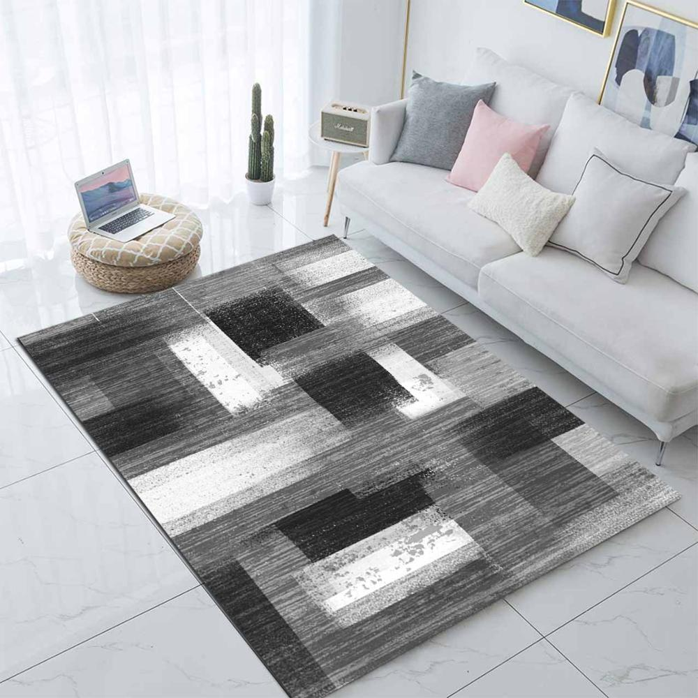 Else Black White Gray Mix  Lines Nordec Design 3d Print Non Slip Microfiber Living Room Decorative Modern Washable Area Rug Mat