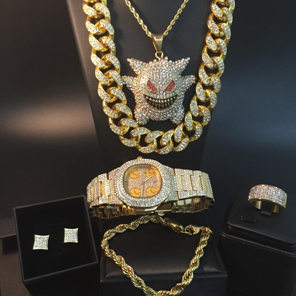 Hommes de luxe couleur or montre & collier & bracelet & bague & boucle d'oreille Combo Ice Out cubain élégant cristal Miami collier pour hommes