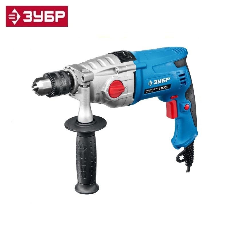 купить Hammer drill Zubr Professional ZDU-1100-2 ERMKM2, 2-speed., Met. gear case, cartridge 13 mm, steel-16 mm / concrete-16 mm недорого
