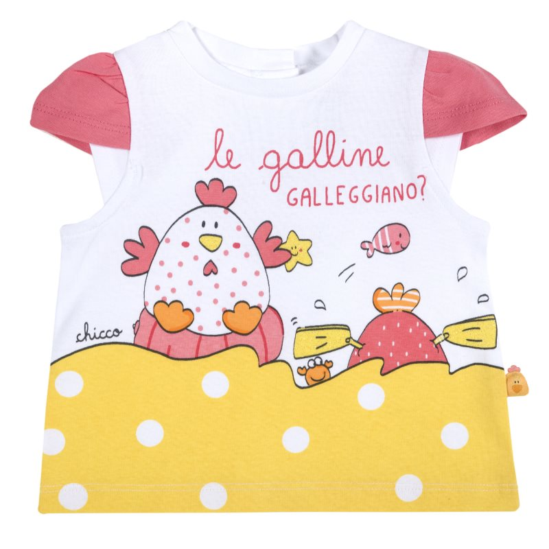 T-shirt Chicco, size 080, print chicks (yellow) plus size letter print striped t shirt
