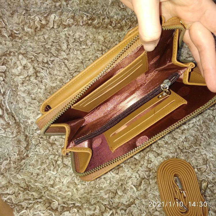 2021 Women Wallet Solid Color Leather Shoulder Straps Shoulder Bag Mobile Phone Big Card Holders Wallet Handbag Pockets girls photo review