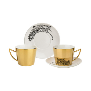 Coffee set leopard for 2 per. 4-WIRES. 90 ml, gold (Cor = 12 NAB.)