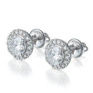 Image 2 - NiceGems 14K 585 beyaz altın 1.6CTW yuvarlak Moissanite Halo elmas top küpeler vida geri ile D E renk VVS1 kadın için hediye