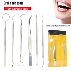 6Pcs Dental Mirror Sickle Tartar Scaler Teeth Pick Spatula Dental Laboratory Equipment Dentist Oral Care Tooth Cleaning Tools