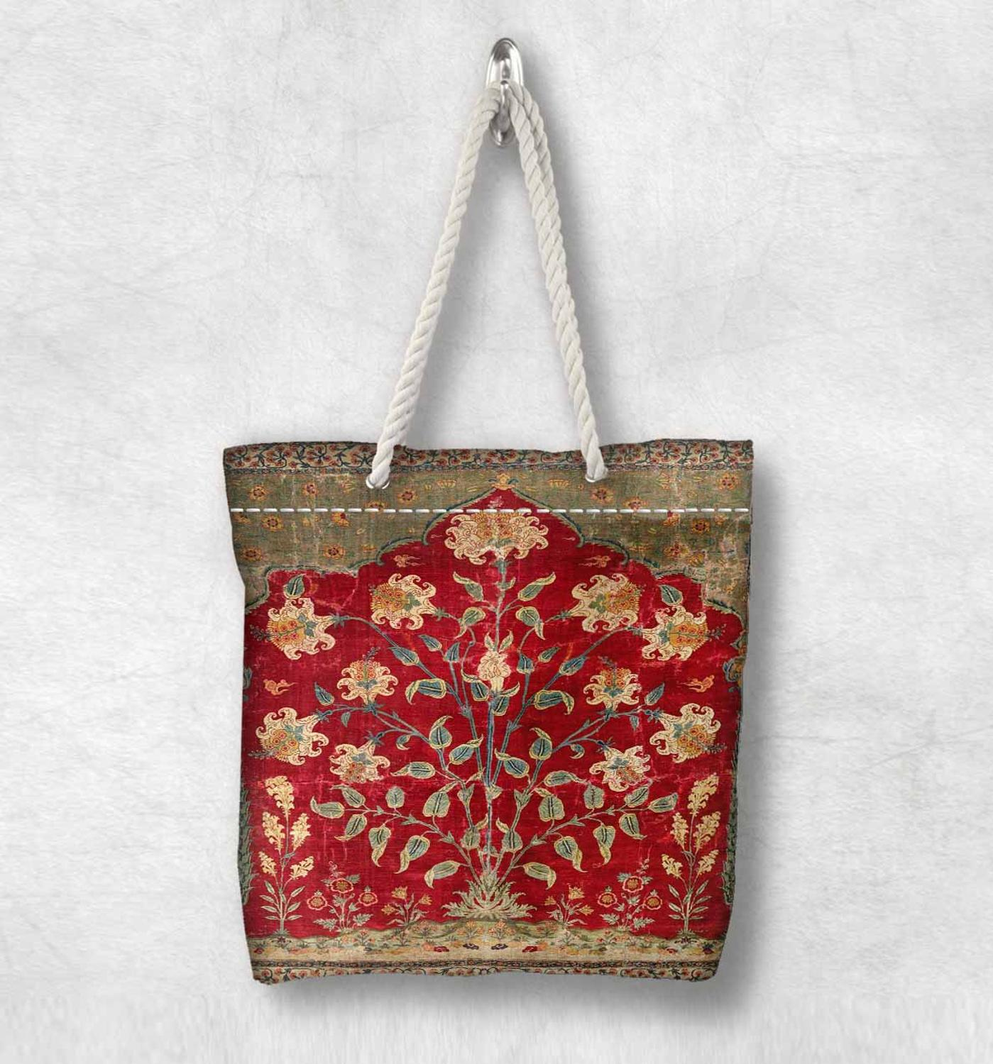 Else Red Yellow Antique Ottoman Floral Design Fashion White Rope Handle Canvas Bag Cotton Canvas Zippered Tote Bag Shoulder Bag