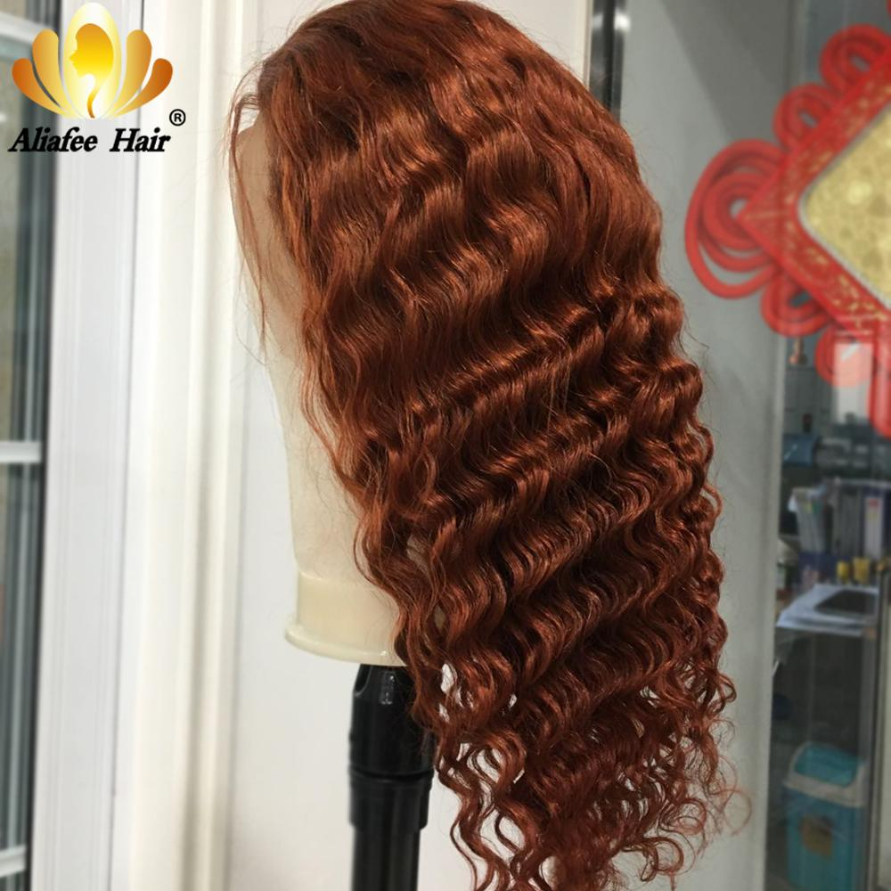 Aliafee Ginger Orange Ombre Color Deep Wave Wig Peruvian Remy Hair 13x4 Human Hair Wigs 150% PrePlucked With Baby Hair For Women