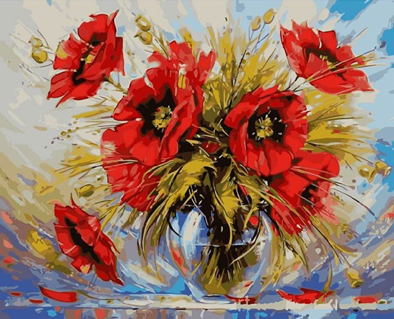Painting By Numbers Red Flowers, 40x50 Cm