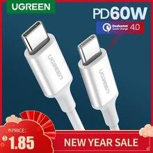 Ugreen PD 60 Вт USB C к USB Type-C кабель QC4.0 3,0, кабель для быстрой зарядки и передачи данных для Macbook, Samsung S9 Plus, USB C кабель для Huawei P30