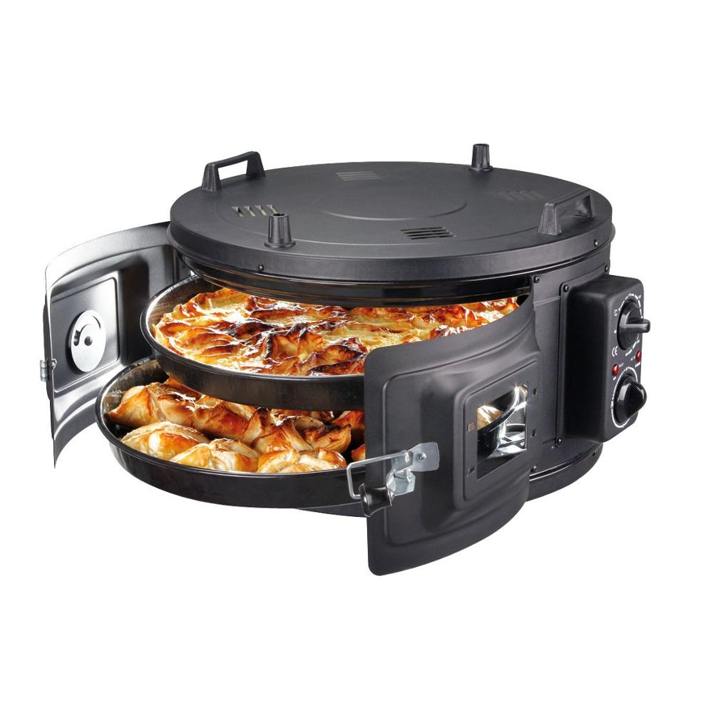 BLACK COLOR Commercial Round Countertop 220V Drum Oven Bakery Pastry Snack Cookie Roaster Pizza Multipurpose Oven 2xPan Included