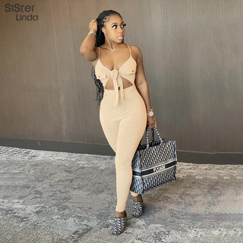 a suit of charming embellished hollow out rings for women Sisterlinda High Quality Hollow Out Rompers For Women Jumpsuit Sexy Backless Ribbed Grey Playsuit Ladies Body Suit Mujer 2020new