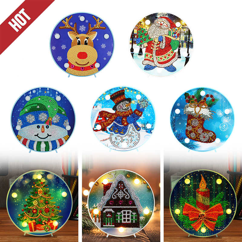 DIY LED Special Shaped Diamond Painting Santa Claus Embroidery Lights Decor Home Furnishing Festival Christmas Supplies
